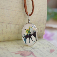 6pcs/lot Handmade Forest Deer Necklaces Double Cabochon Jewelry for Kids Brown Leather Cord Necklaces  XL118