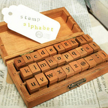 Lower case and Upper case Letter Alphabet Stamp Box Handwriting Stamp Antique Wooden Rubber Stamp with case 30 characters lot