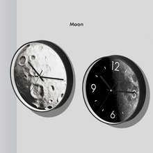 Creative Black Moon surface wall clock Personality living room lunar surface art wall clock