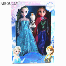 3pcs/box Fashion 30cm Anna and Elsa Princess Soft Plush Doll Original Pack Anna Elsa Doll Baby Girls Toys High Quality