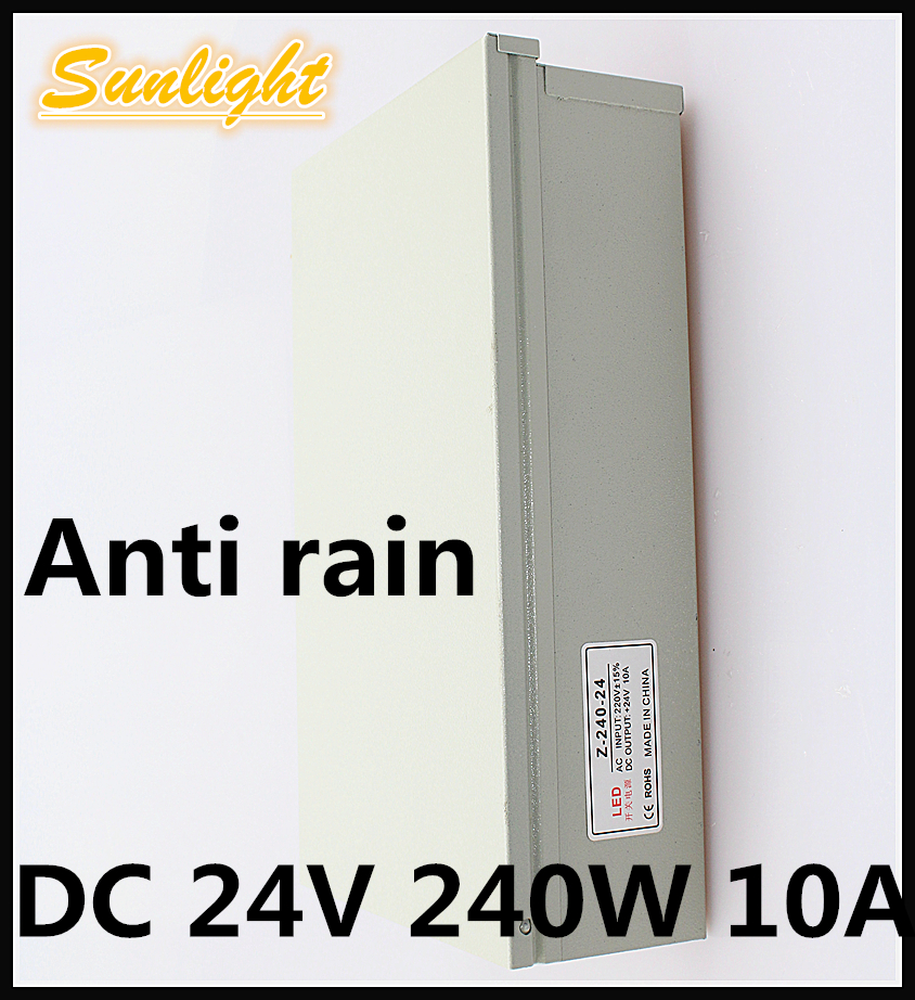 Anti rain DC 24V 10A 240W safe convenient regulated switching power supply swich driver adapter outdoor led lighting transformer<br><br>Aliexpress