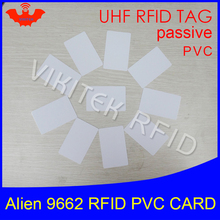 RFID tag UHF PVC card Alien 9662 EPC6C 915mhz 868mhz 860-960MHZ Higgs3 85.7*54*0.8mm long distance smart card passive RFID tags