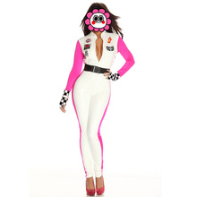 White Jumpsuits Racer Racing car Driver Costume Super Car Girl Outfit Deep V Jumpsuits Sexy Racing Girl Zipper Free Shipping(China)