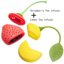 BornIsKing 1PCS Silicone Strawberry + 1PCS Lemon Loose Tea Leaf Strainer Herbal Spice Infuser Filter Diffuser(China)