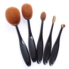 5 Piece Black Oval Toothbrush Cosmetic Makeup Brushes Tools Face Foundation Powder Oval Makeup Brush Set Synthetic Pincel #84259