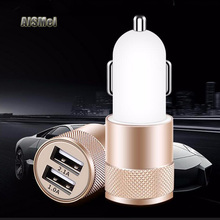 AiSMei 100PCS USB Car Charger 5V 2.1A Quick Car Charger Dual USB Port Cigarette Lighter Adapter For iPhone Samsung iPad GPS MP3(China)