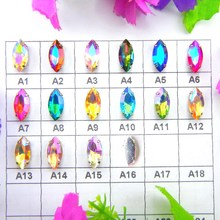 AB colors silver claw settings 8 Sizes Navett shape Sew on glass Crystal rhinestone beads wedding dress accessories diy trim(China)