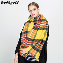 2017 New Fashion Winter Autumn Women Popular Tassels Scarf Cotton Striped Plaid Shawl Ladies Long Warm Soft Pashmina Duftgold(China)