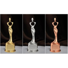 3 Colors Available Metal Craft Oscar Award Replica Trophy Fashion Decorative Figurines Sculpture Oscar Trophy Replica(China)