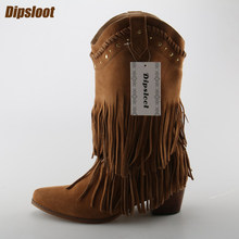 Hot Unta Suede Kulit Wanita Slip Pada Pinggiran Sepatu Runcing Toe Wanita  Gaya koboi Western Boots Kualitas Tinggi Med Tumit Kel. 2712988f504a
