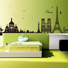 LP 1 set 28*75 Inch Removable PVC Decals Paris City Silhouette Eiffel Tower Wall Stickers For Art Home Wall Decor CC6912(China)