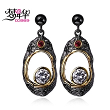 DreamCarnival 1989 Vintage CZ Earrings for Women Big Fruit Shape Hollow Pendientes brinco feminino zirconia luxo oorringen Moda(China)