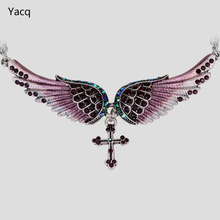 "YACQ Angel Wing Cross Choker Necklace Women Biker Jewelry Gifts Crystal Antique Silver Color NC01 Wholesale Dropshipping (18+2)""(China)"