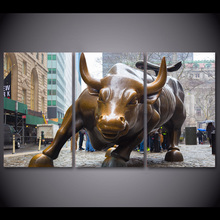 3 Pieces New York Pose Bronze Bull Wall Art Canvas Pictures For Living Room Bedroom Home Decor Printed Canvas Painting(China)