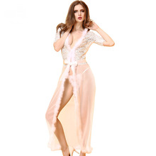 Buy 2017 European American Style Women Sexy Lingerie Sisk Baby Dolls Chemises Erotic Cosplay Girl Lace Net Yarm Clothes+Thong