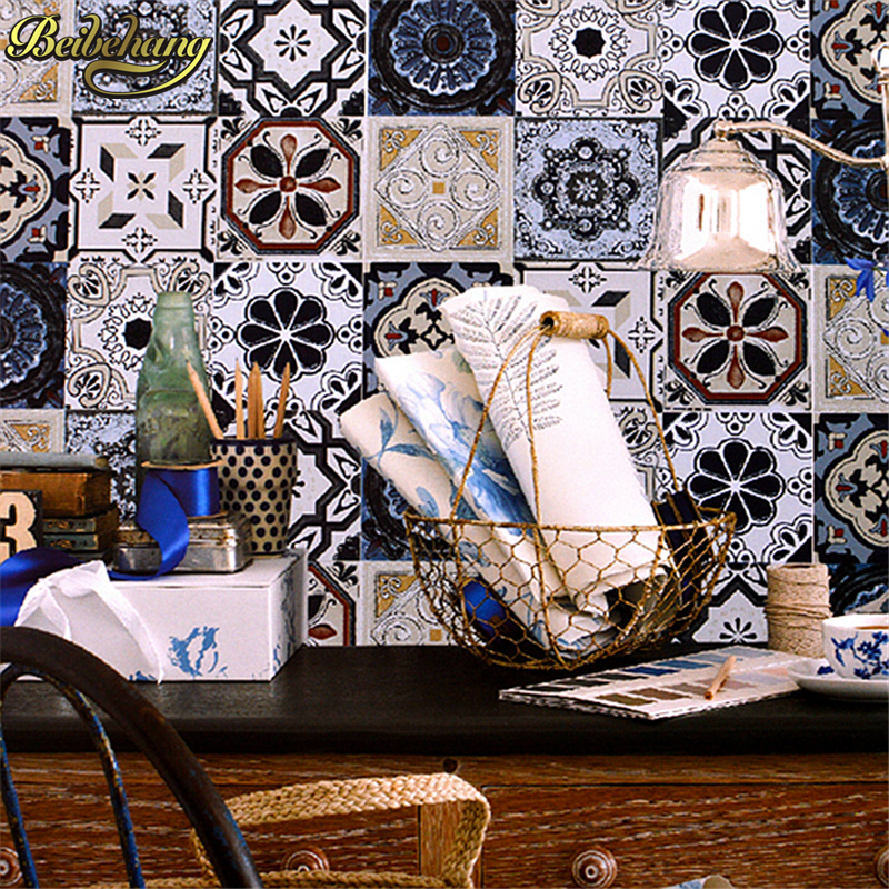 beibehang Bohemian ethnic style abstract classic brick 3D wall paper stone brick TV background wall PVC wallpaper  living room<br>