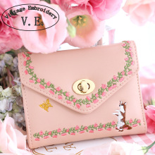 Vintage Embroidery Women Day Clutch Boho Butterfly Pink Floral Lock Card Lady Animal Prints Mori Girl Leather PU Envelope Wallet