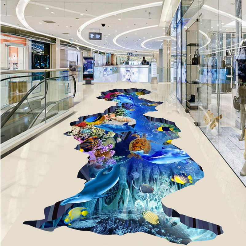 Free Shipping Ocean world outdoor 3D floor painting thickened bedroom living room bathroom kitchen lobby flooring mural<br>
