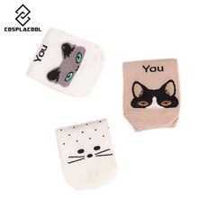 [COSPLACOOL]2017 Spring/Summer new fashion Korea creative cartoon I Need You Cat Animal short tube cotton socks Meias Calcetines