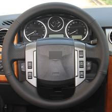 Black Leather DIY Hand-stitched Car Steering Wheel Cover for Land Rover Discovery 3 2004-2009