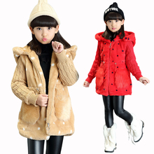 New Winter Children Fur Coat Girls Faux Fur Jacket Wadded Thickening Jacket Girl Wadded Coat Kids Cotton Winter Outerwear Hooded(China)