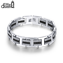 Effie Queen Unique Mens Hot Stainless Steel Bracelet Bangle Black Rubber Silicone Charm Jewelry for Men Boys Gift IB12(China)