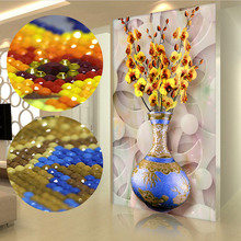 special shaped diamond embroidery diy 5d diamond painting orchid vase for wedding decoration european wall stickers bead(China)
