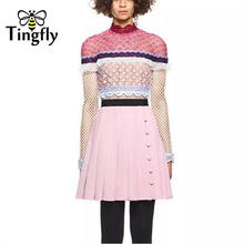 Tingfly 2018 New Season Self Portrait Runway Hollow Out Lace Dress Flounces Pink Dress Women Sexy O-Neck Mini Party Dresses(China)