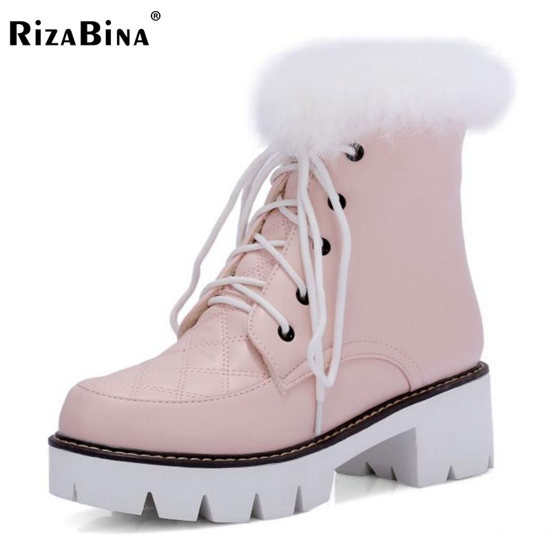 RizaBina Size 33-43 Women High Heel Boots Half Short Snow Boots Thick Fur Shoes In Cold Winter Botas Warm Boots Women Footwear<br>