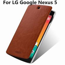 Mofi Luxury Leather Wallet Stand Case For LG Google Nexus 5 E980 D820 D821 Mobile Phone Bag Cover Black Retail Package & Gift