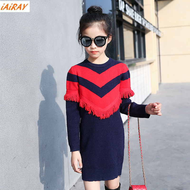 iAiRAY korean style girls oversized long sweater dress with tassel red stripe children sweater girl gift kids clothes brands<br>