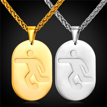 2 Pcs Dog Tag Double Necklace Pendant With Football  Sport Jewelry 2016 Stainless Steel/Gold Color Chain Men/Women Gift GP2247