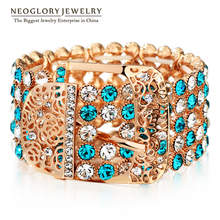 Neoglory MADE WITH SWAROVSKI ELEMENTS Rose Gold Color Bangles & Bracelets Belt Clasp Design Statement Charm 2017 New Jewelry