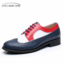 Genuine leather designer vintage flat shoes round toe handmade red white black oxford shoes for women with fur big US size 11