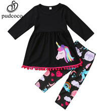 Pudcoco 2017 Fall Girls Clothes Unicorn Horn 2 pieces Kids Baby Girl Outfits little pony boutique rainbow unicorn pant sets(China)
