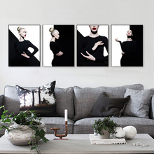 fashion art studio portrait of elegant blode in geometric black white background home decor wall picture canvas painting HD2080