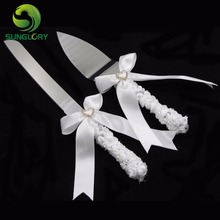 2PCS Stainless Steel Wedding Decoration Cake Knife Server Set White Lace Ribbon Handle Party Cake Spatula Cutter With Gift Box(China)