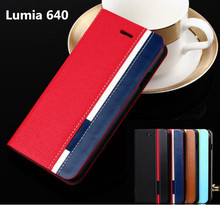 Business For Nokia Lumia 640 Flip Leather Cover Case Mobile Phone Cover Mixed Color Skin Pouch card slot