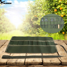 1Pc Green Canvas Gardening Handle Portable Multifunctional Storage Package Roll Bag Hand Tool Set Pouch Tool Bags