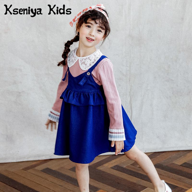 Kseniya Kids 2018 Spring Girls Suit Cowboy Sling Dress Two Pieces Long Sleeve Shirt With Dress Baby Girls Clothes Clothing Sets<br>