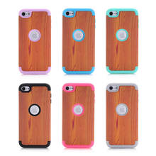 For Apple iPod Touch 6 Touch6 Case Wood Grain Design 3 in 1 High Impact Heavy Duty Hard Rugged Rubber Pink Case Cover