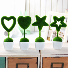 4 pcs Artificial Flowers Star Heart Style Fake Grass Ball Simulation Plant Home Wedding Ornaments Decoration for Friend Gift 2E(China)