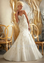 Robe De Mariee 2016 Custom Made White/Ivory Tulle Luxury Appliques Beading Sequined Crystal Mermaid Wedding Dress Bridal Dresses