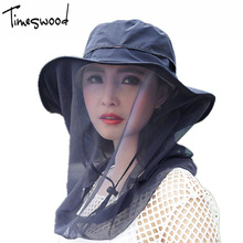 [TIMESWOOD] Sun Hat Mesh Plain Mosquito Net Hats Breathable UV Protection Cool Causal Summer Beach Women's Travel Caps For Lady(China)