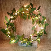Unique handmade LED String Lights with green leaf, AA Battery holiday lighting, Vase flower arrangement,DIY wedding decoration(China)