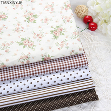 Twill 5 pcs 40 *50 cm coffee flower brand fabric cotton fabric for Sewing patchwork fabric Textile Tilda Doll Body Cloth
