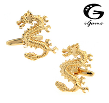 iGame Factory Price Novelty Animal Cufflinks For Men Fashion Copper Material Golden Dragon Design Cuff Links Free Shipping