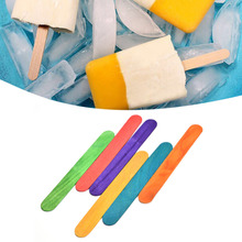 50Pcs/Lot Wood Popsicle Colorful Ice Cream Stick Spoon Lolly Cake Holder Making Sticks Holder Hand Crafts Art Tool For Kids Toys(China)