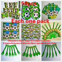 New arrival 58 pcs/lot quality baby show football Kids happy Birthday kids Party Decoration Set Baby boy suppliers(China)