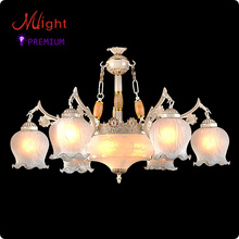 European Style New Traditional Chandelier Six Arms Milk Body Frosted Glass Living Room Lamp